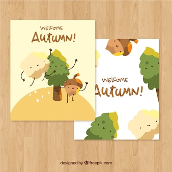 Hand drawn lovely autumn label collection