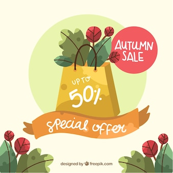 Hand drawn lovely autumn sale composition
