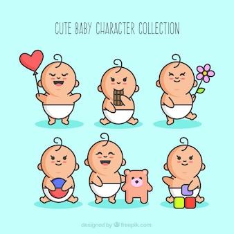 Disegnato a mano collezione personaggio bello del bambino con gli oggetti