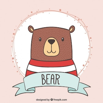 Hand drawn lovely bear with a striped t-shirt