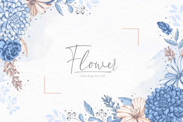 手描きの素敵な青い花