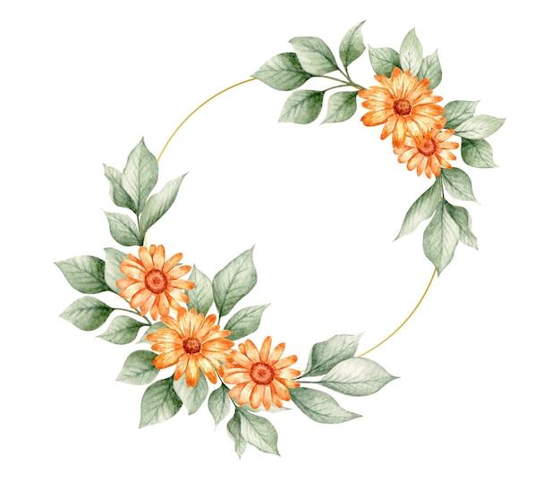 バレンタインカードの手描きの素敵な花のフレーム