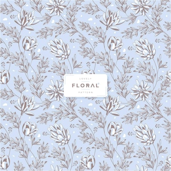 Hand drawn lovely floral seamless pattern