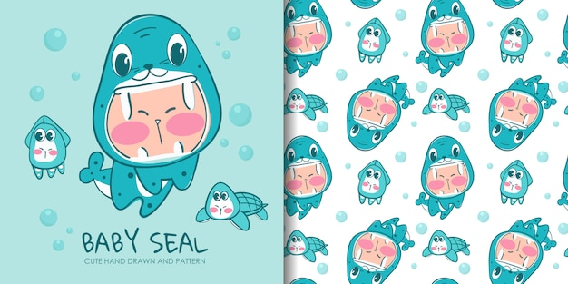 Hand drawn lovely kid in costume of seal with seamless pattern