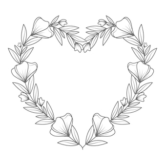 Hand drawn lovely and line art floral heart illustration