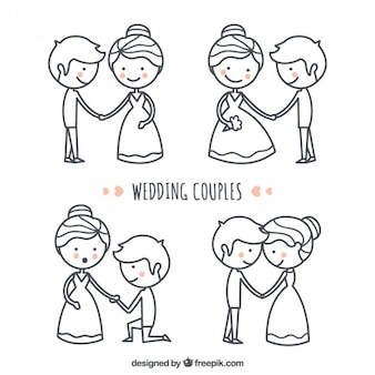 Hand drawn lovely and nice wedding couple set