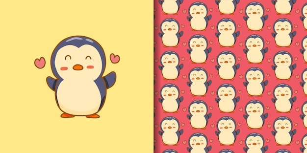 Hand drawn lovely penguin with seamless pattern