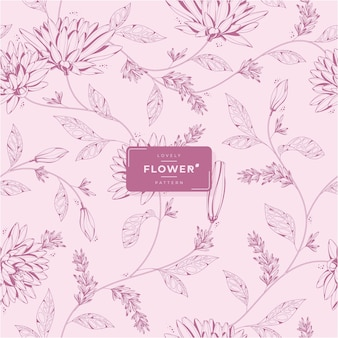 Hand drawn lovely pink flower pattern