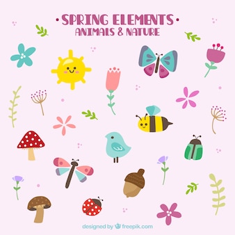 손으로 그린 사랑스러운 봄 동물과 자연