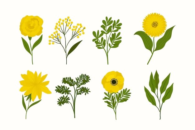 손으로 그린 사랑스러운 봄 꽃 세트