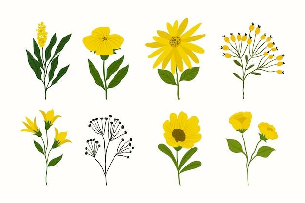 손으로 그린 사랑스러운 봄 꽃