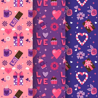 手描きの素敵なバレンタインデーのパターンコレクション