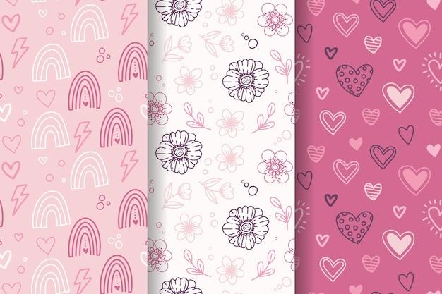 손으로 그린 사랑스러운 발렌타인 패턴 세트