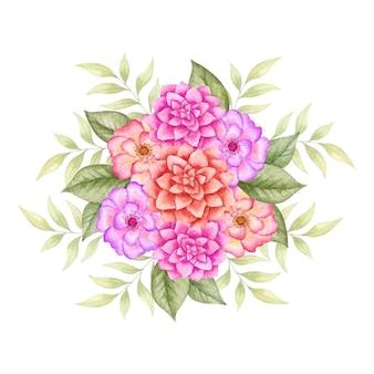 손으로 그린 사랑스러운 수채화 꽃 꽃다발