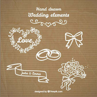 Hand drawn lovely weeding things