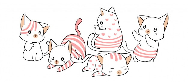 Hand drawn lovely white and pink cat characters