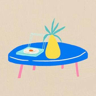 Ручной обращается низкий стол вектор мебель в красочном плоском графическом стиле