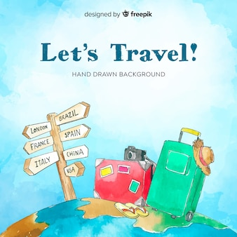 Hand drawn luggage on globe background