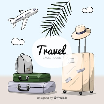 Hand drawn luggage travel background