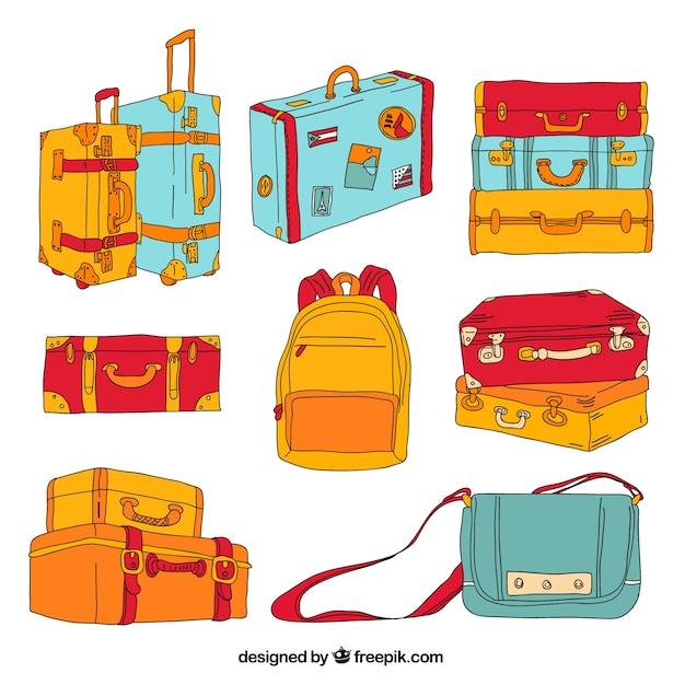 Hand drawn luggage