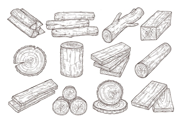 Hand drawn lumber. sketch wood logs, trunk and planks. stacked tree branches, forestry construction material vintage vector set.