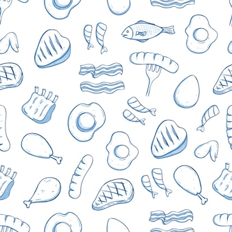 Hand drawn lunch food seamless pattern