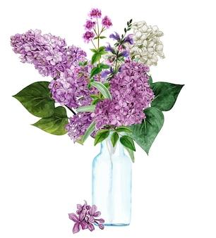 ガラス瓶に手描きの青々としたライラックの花束