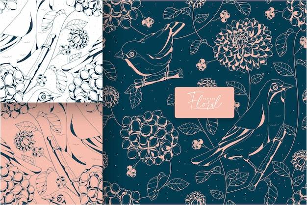 手描きの豪華な花柄コレクション