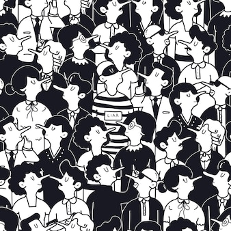 Hand drawn lying people illustration concept seamless pattern
