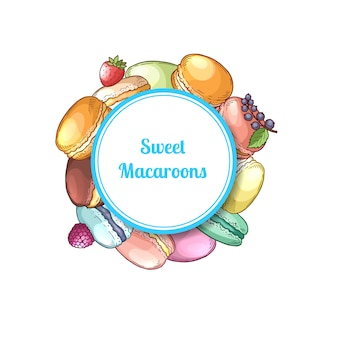 Hand drawn macaroons under circle with shadow and place for text