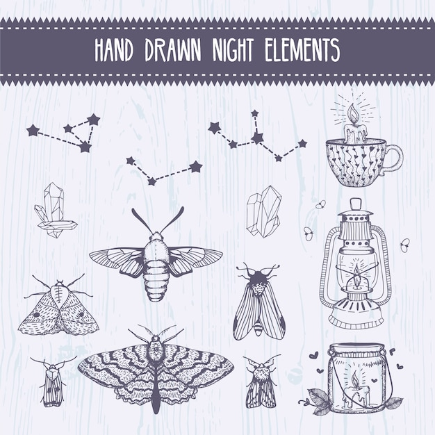 Hand drawn magic night collection elements