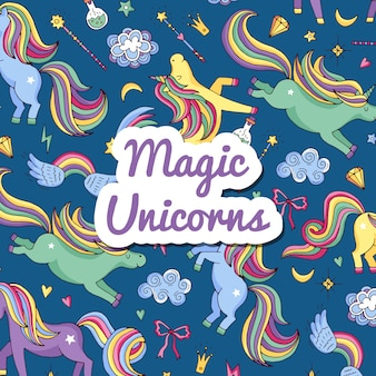 Hand drawn magic unicorns and stars background with place for text