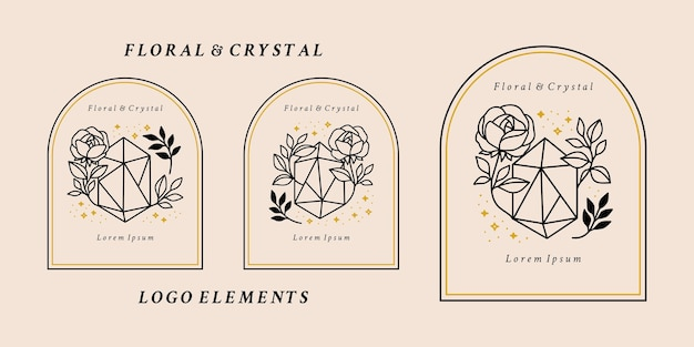 Hand drawn magical logo elements with crystal, rose flower, botanical leaf, and stars