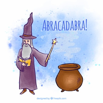 Hand drawn magician with a pot