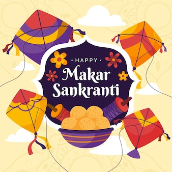 Hand drawn makar sankranti