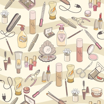 Hand drawn make up and cosmetics  seamless pattern