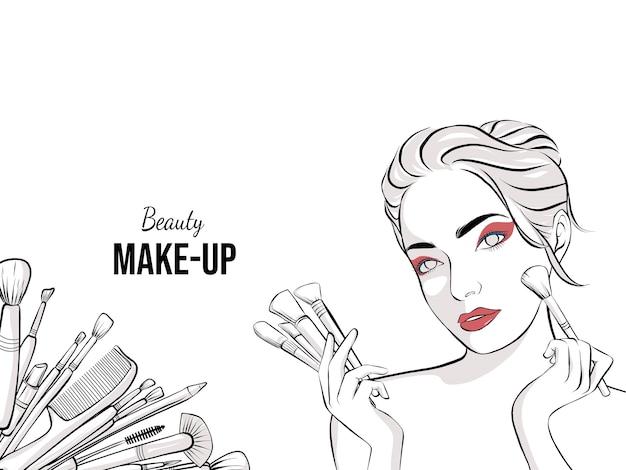 Hand drawn makeup artist banner