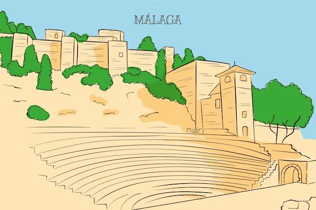 Hand drawn málaga skyline