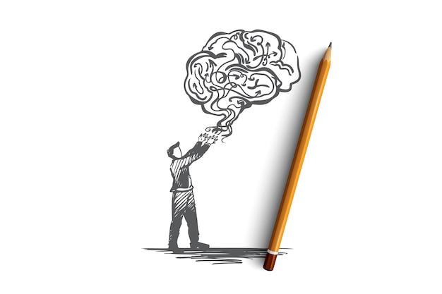 Ручной обращается человек и облако в форме эскиза концепции мозга