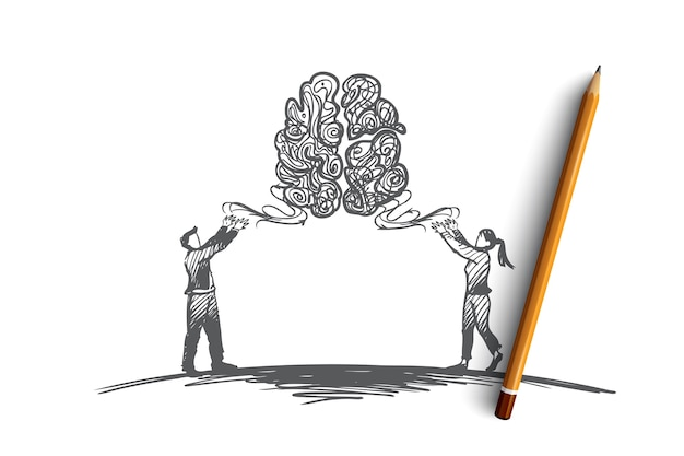 Нарисованные рукой мужчина и женщина ищут эскиз концепции новой идеи