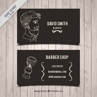 Hand drawn man and brush barber shop card