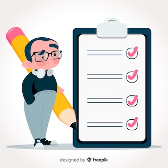 Hand drawn man checking giant check list background