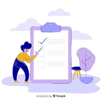Человек нарисованный рукой проверяя гигантскую предпосылку контрольного списка