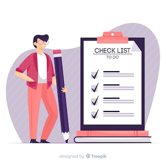 Hand drawn man ckecking big checklist illustration