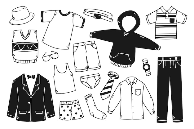 Hand drawn man clothes and accessories vector doodle illustration
