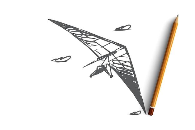 ハンググライダーのコンセプトスケッチで飛んでいる手描きの男