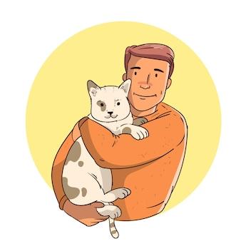 猫を保持している手描きの男