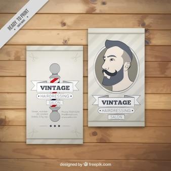 Hand drawn man illustration barber shop card