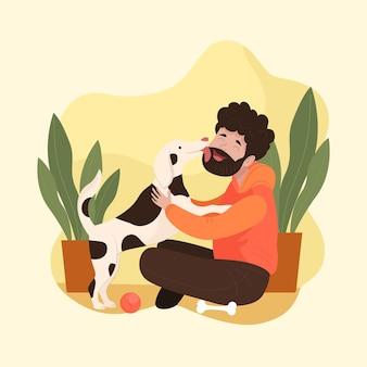 かわいい犬と手描きの男