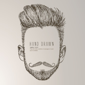 Hand drawn man with moustache